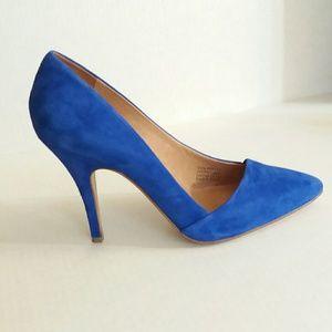 Madewell Mira Heel Blue Suede Pumps